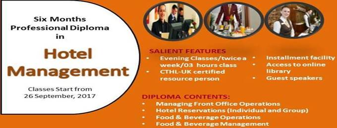 six months professional diploma in hotel management