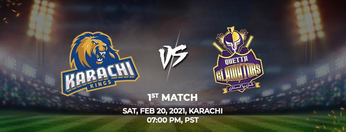 Karachi King VS Quetta Gladiators 1st Match (PSL 2021)
