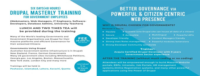 Six Days Drupal Training for Government Employees (Islamabad