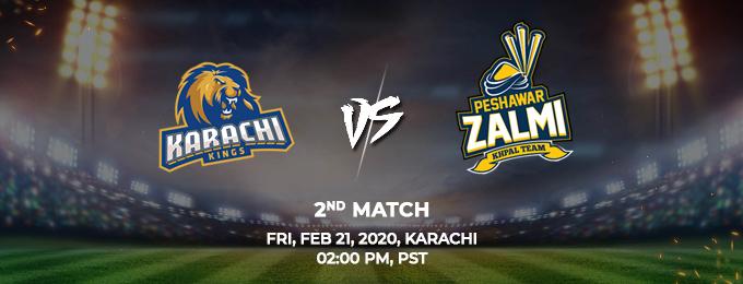 Karachi Kings vs Peshawar Zalmi 2nd Match (PSL 2020)