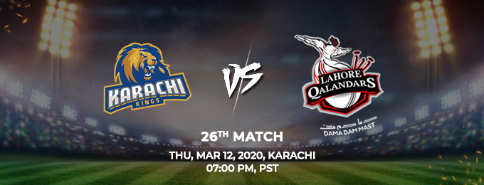 karachi kings vs lahore qalandars 26th match (psl 2020)