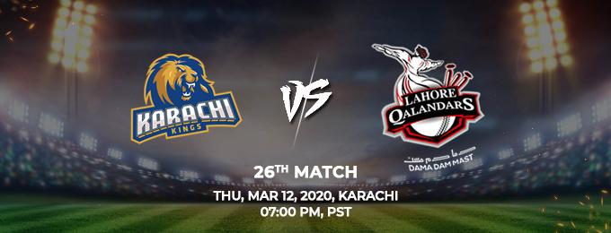 Karachi Kings vs Lahore Qalandars 26th Match (PSL 2020)