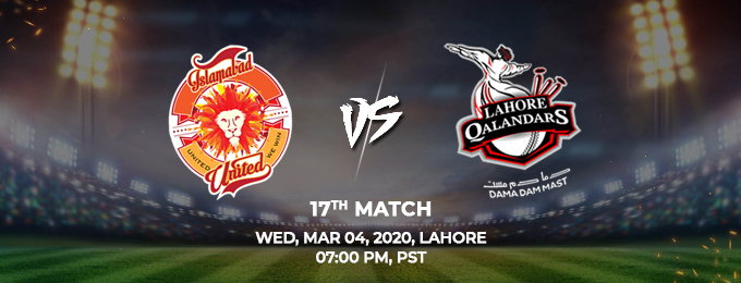 islamabad united vs lahore qalandars 17th match (psl 2020)