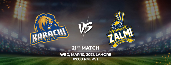 karachi kings vs peshawar zalmi 21st match (psl 2021)