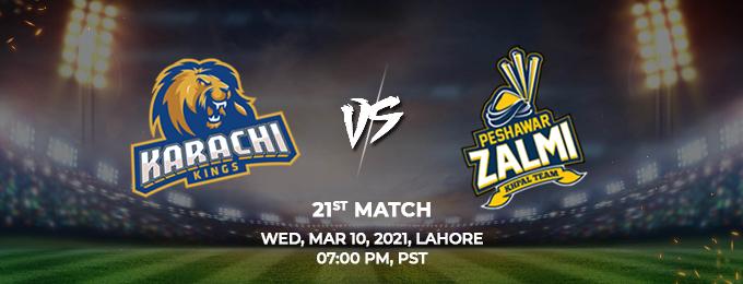 Karachi Kings VS Peshawar Zalmi 21st Match (PSL 2021)