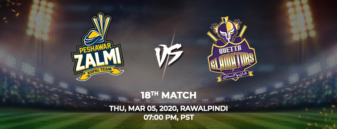 peshawar zalmi vs quetta gladiators 18th match (psl 2020)