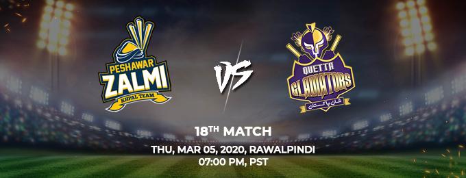 Peshawar Zalmi vs Quetta Gladiators 18th Match (PSL 2020)