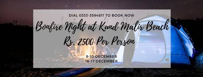 bonfire night at kund malir beach in rs. 2500 only