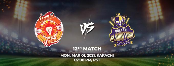 Islamabad United VS Quetta Gladiators 12th Match (PSL 2021)