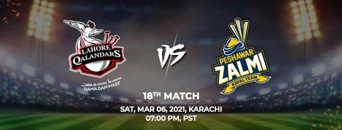 Lahore Qalandars VS Peshawar Zalmi 18th Match (PSL 2021)