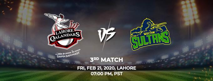 Lahore Qalandars  vs Multan Sultans 3rd Match (PSL 2020)