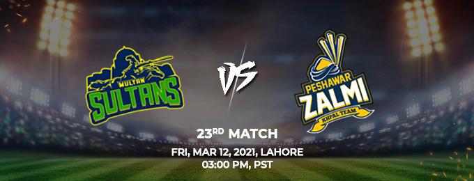 Multan Sultans VS Peshawar Zalmi 23rd Match (PSL 2021)