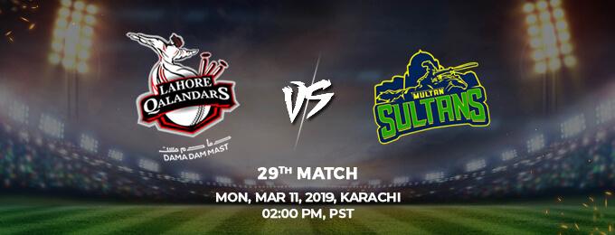 Lahore Qalanders VS Multan Sultans 29th Match (PSL 2019)