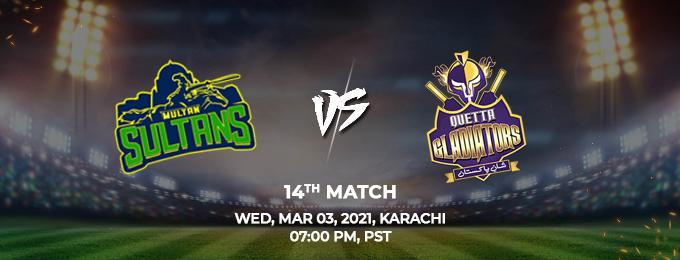 Multan Sultans VS Quetta Gladiators 14th Match (PSL 2021)